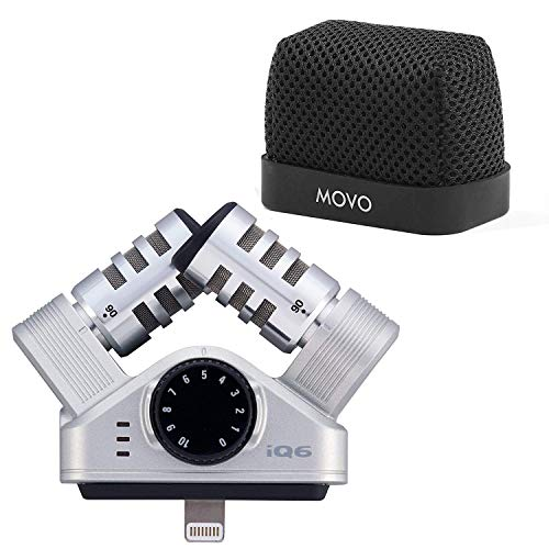 Zoom iQ6 Stereo X/Y Recording Microphone Compatible with iOS/Lightning Devices with Movo Superior Fitted Nylon Windscreen Bundle