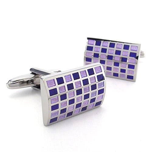Purple Checkered Studs (TEMEGO Jewelry Mens 2pcs Alloy Rhodium Plated Classic Square Checkered Wedding Cufflinks Shirt Cufflinks, Purple Silver)