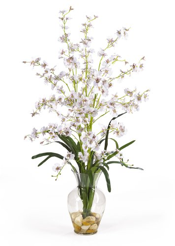 Nearly Natural 1073-WH Dancing Lady Liquid Illusion Silk Flower Arrangement, White