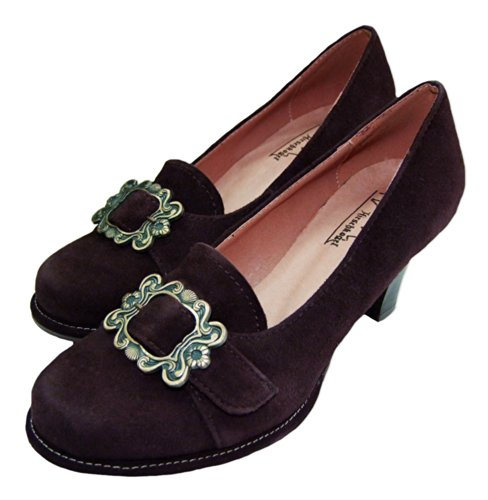 Klassische Trachten Wildleder Pumps - Dunkelbraun mit Zierschnalle - Marken Schuhe von Andrea Conti