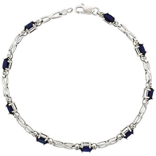 10k White Gold XOXO Hugs & Kisses Tennis Bracelet 0.05 ct Diamonds & 2.25 ct Oval Created Blue Sapphire, 1/8 inch (Kisses Diamond Tennis Bracelet)