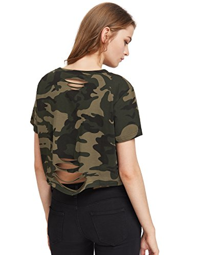 08f21cf187f19 SweatyRocks Tshirt Camo Print Distressed Crop T-shirt