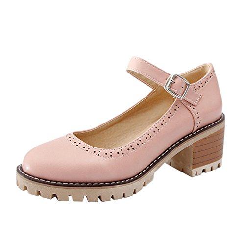 YE Damen Ankle Strap Brogue Pumps Blockabsatz High Heels Plateau Geschlossen mit Riemchen und Schleife Elegant Schuhe Rosa