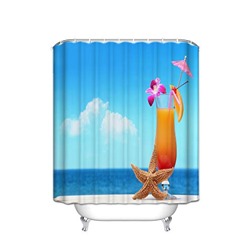 Shower Giraffe Blue Flower (Yellow Starfish Flower Fruit Drink Lake Blue Ocean Blue Sky White Stripe Shower Curtain With Hooks (Treated To Resist Deterioration By Mildew) - 36 X 72 Inches)
