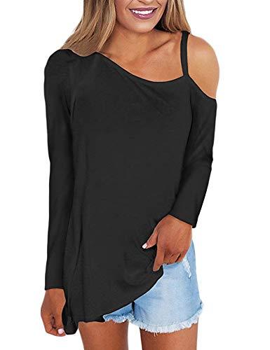 FISOUL Women's Cold Shoulder Long Sleeve Blouse Shirts Asymmetrical Hem Loose Fit Tunic Tops