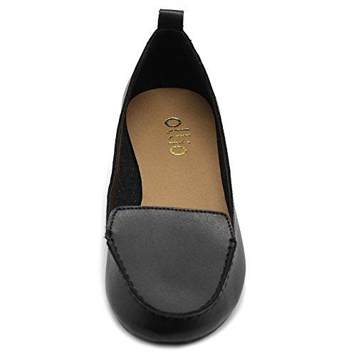 Ollio Chaussures Pour Femmes Confort Lumière Maccasin Chaussures Pour Ballerines En Simili Cuir Noir