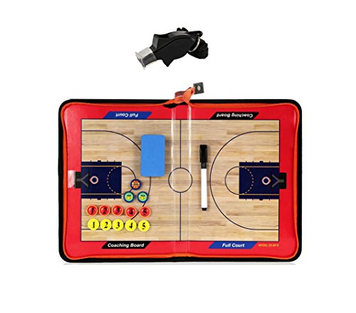 Wrzbest Basketball Coaching Board Strategy Tactics Clipboard with Coach Referee Whistle -