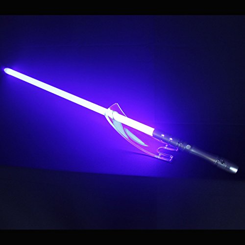 YDD Star Wars Jedi Sith LED Light Saber, Force FX Heavy Dueling, Rechargeable Lightsaber, Loud Sound High Light with FOC, Metal Hilt, Blaster, Christmas Toy Gift (Silver Hilt Blue Blade) ()