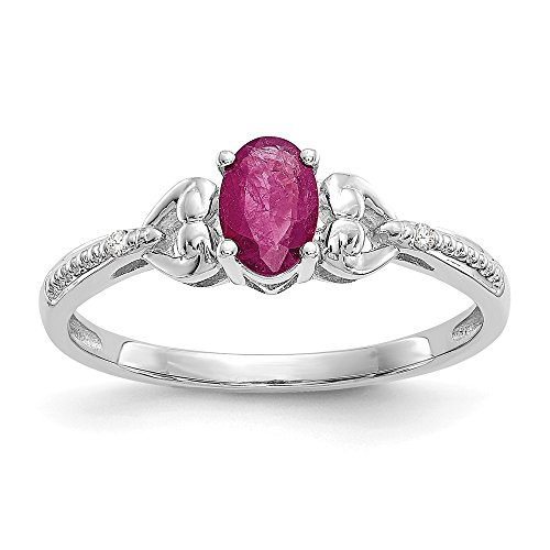 (10k White Gold Red Ruby Diamond Band Ring Size 7.00 Stone Birthstone July Oval Fine Jewelry Gifts For Women For Her)