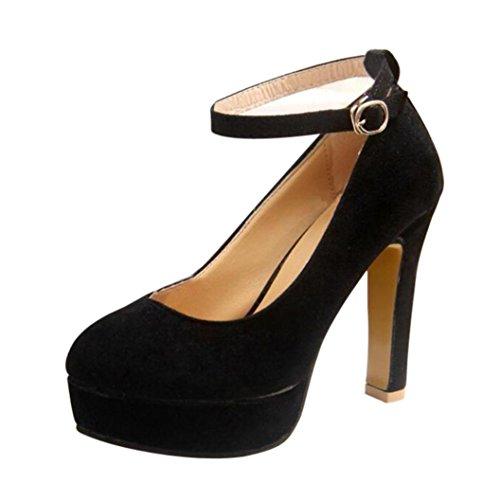 Longra Tinta unita Moda Donna Flock Materiale superiore Scarpe Cinturino alla caviglia Tacchi alti Scarpe Scarpe con plateau Pompe (EU Size:39, Nero)