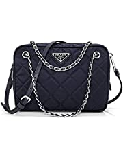 Prada Tessuto Impuntu Quilted Nylon Shoulder Chain Handbag Bl0910, Navy Blue/Bleu