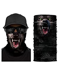 [NEW STYLE]3D Animal Neck Gaiter Warmer Windproof Face Mask Scarf, Microfiber Multifunctional Headwear for Motorcycle Riding (Wolf)
