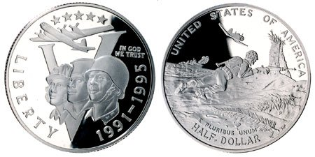 (1995 P WWII 50th Anniversary Commemorative Half Dollar US mint Proof)