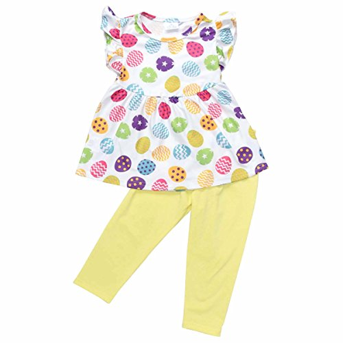 Unique Baby Girls Funky Easter Eggs Easter Outfit (4T/M, Yellow) (Dot Yellow Clothes Set Capri)