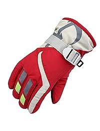 Janedream Kids Ski Winter Snow Gloves Warm Waterproof Children Windproof Thickening Gloves for Girls Boys Red