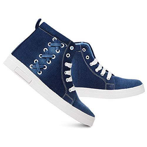 Longwalk Girls Casual Denim Boot Laceup Style Shoes Blue