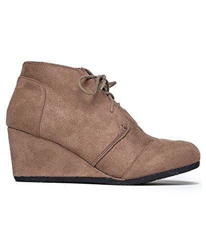 Charles Albert Rex Womens Suede Wedges Lace Up Bootie Taupe ()