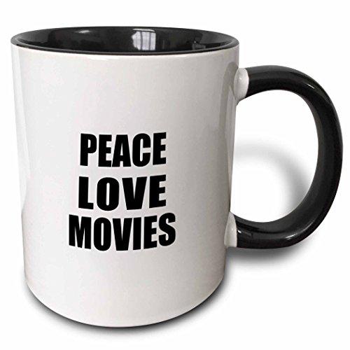 3dRose 184889_4 Peace Love Things That Make Me Happy-Movie Buff Gift Two Tone Mug, 11 oz, Black ()