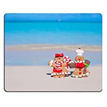 Natural Rubber Gaming Mousepad IMAGE ID: 28410090 Christmas gingerbread cookies on a white sandy beach