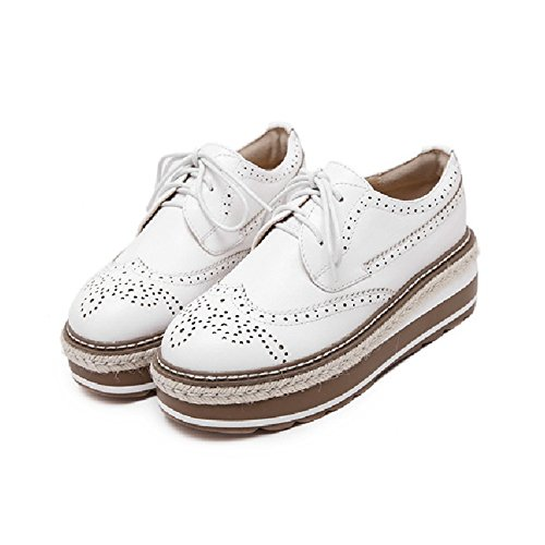 Sole Thick Casual Fashion Oxford Heel Women Shoes Up Platform Mid White CYBLING Lace 0Ax8w50d