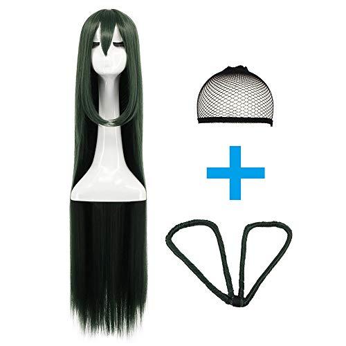 (Yuehong Women's Long Green Straight Synthetic Hair Wig Womens Colored Wigs Fashion Wigs)