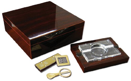 Prestige Import Group 75 Ct. Chry Ebony Lacquer Gift Set Crystal Ashtray & Dig Hygro by Prestige Import Group