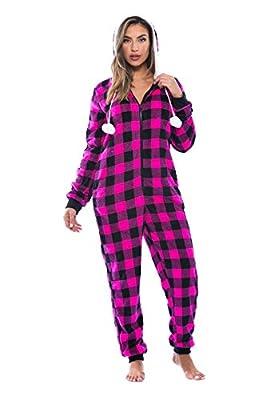 Just Love Buffalo Plaid Adult Onesie / Sherpa Lined Hoody / One Piece Pajamas