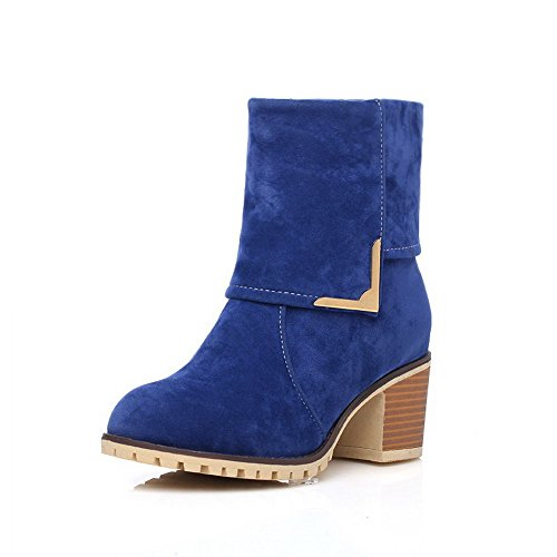 Heels Toe On Round Women's Kitten Allhqfashion Solid Boots Closed Pull Blue Frosted YgEqx