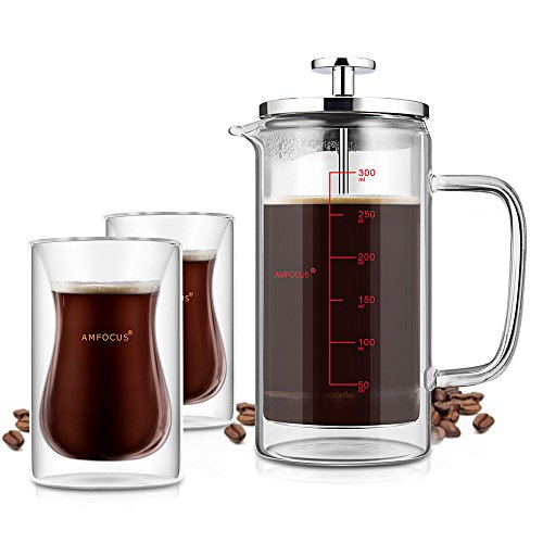 French Press Coffee Tea Maker with 2 Espresso Cups | Doubled Wall | Stainless Steel Plunger,350ml/10oz by AMFOCUS