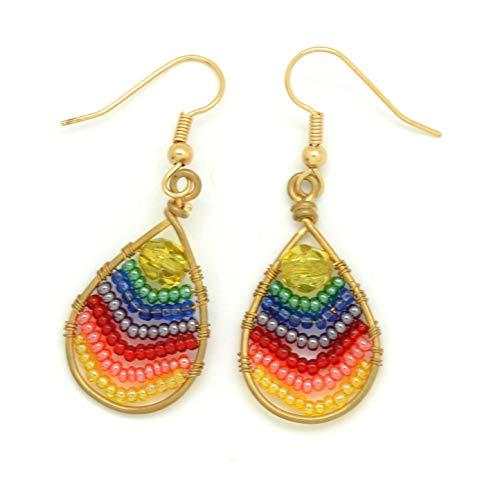 Teardrop Rainbow Wire & Seed Bead Dangle Earrings, Czech Glass Chakras Earrings (Teardrop Dye Tie)
