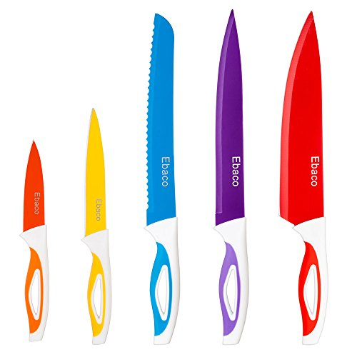 Ebaco 5 Colorful Knife Set – 5 Kitchen Knives – Chef Knife Sets with Carving Serrated Utility Chef's and Paring Knives