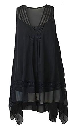 fb5cad3fa061 High Street Secret Ex Evans Ladies Chiffon Sleeveless Swing Black ...