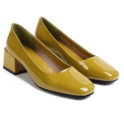 QOIQNLSN Zapatos De Mujer Cuero Nappa Confort Primavera Tacones Chunky Talón Negro/Verde Green