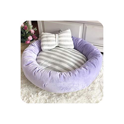 - Pet Dog Bed Mats Round Puppy Pads Winter Warm Velvet Soft Lounger Sofa for Kitten Puppy Cat Litter Nest Kennel with Pillow,Purple,Dia 55Cm