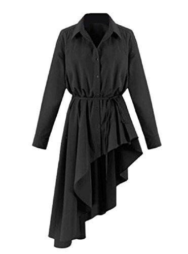 A Irregolare Coolred Abito Delle Camicia Maniche Più Nero formato Di Lunghe Bordo Lungo Donne tqpT0wt