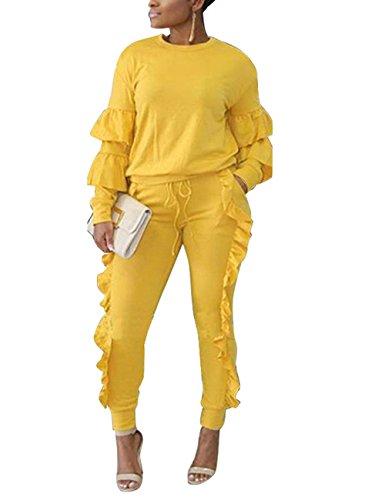 Women's Two Piece Outfits Ruffle Sleeve Sweatshirt and Long Pants Tracksuit Yellow XL