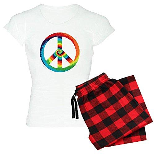 (Royal Lion Women's Light Pajamas Tye Dye Peace Symbol - Red Plaid, XL)
