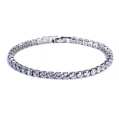 CARSINEL 4PCS Classic Luxury White Gold Plated with Cubic Zirconia Tennis Bracelet -Ideal Jewelry Gift for Engagement,Wedding,Birthday,Prom,Party (White, 6.7