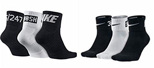 NIKE Dri-Fit Cotton Cushioned Fly Rise V4 Quarter Cut Athletic Socks 3 PAIR (Black/White) MEDIUM