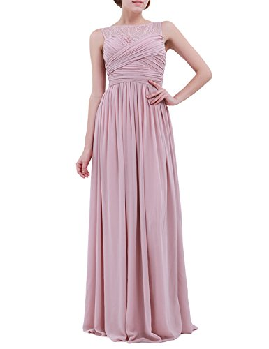 FEESHOW Women's Lace Patchwork Chiffon Bridesmaid Dress Formal Prom Long Evening Gowns Dusty Rose 10 - 10 Dusty Rose