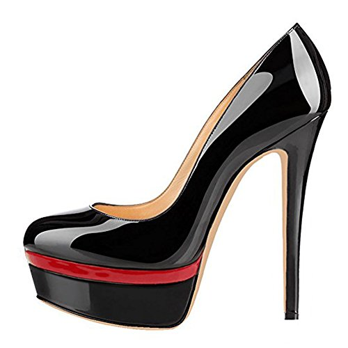 Onlymaker Women's Fashion Super High Heel Slip On Stiletto Pump Platform Closed Toe Wedding Party Shoes Black red 7 M US -