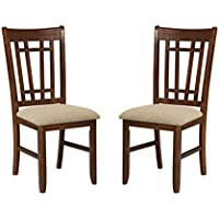 Imagio Home MI-CH-850C-DMI-RTA Mission Casual Lattice Back Side Chair, Set of 2