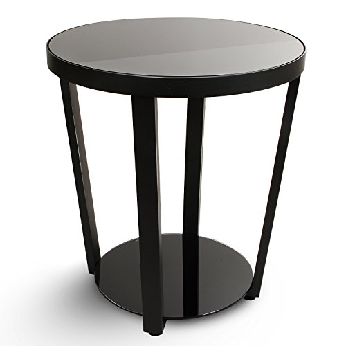 Lifewit 2-tier Modern Round Side/End Table/Nightstand/Coffee Table, Black (Modern Round Side Table)