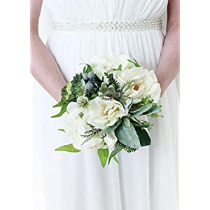 "Floral Home Rose, Hydrangea, Lamb's Ear Artificial Bouquet in White - 11"" Tall 49"
