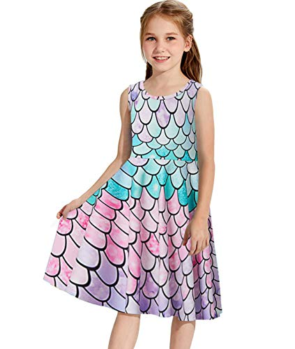 Idgreatim Girls Mermaid Dress Beautiful 3D Graphic Sleeveless Sundress Crew Neck Skater Dresses for School 4t]()