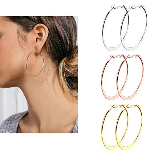 3 Pairs Big Hoop Earrings, 60mm Stainless Steel Hoop Earrings in Gold Plated Rose Gold Plated Silver for Women Girls (60- Flattened) ()