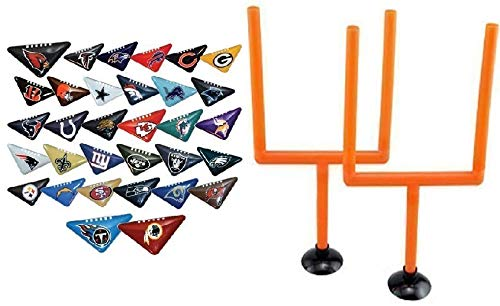 fb 10 Random NFL Tabletops with 2 Goal Post - Football Fiki Flick It Team Helmet Logo Table Top Chinese Triangle Paper Finger Game - Instruction Book - 2 Sided Team Colors Rams Patriots