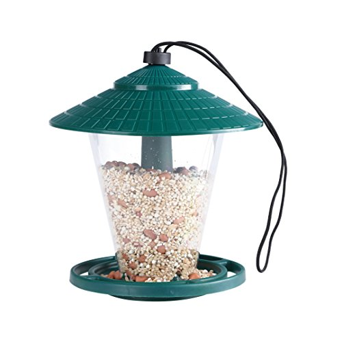 PHI VILLA Wild Bird Feeder - Hanging Design - with Seed Tray, Green