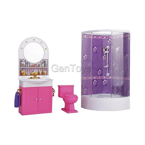 Shalleen Plastic Bathroom Washstand w/ Shower Play Set for Barbie Dollhouse Furniture