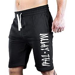 Men's Muay Thai Fighter V442 Black Fleece Jogger Sweatpant Gym Shorts Medium Black